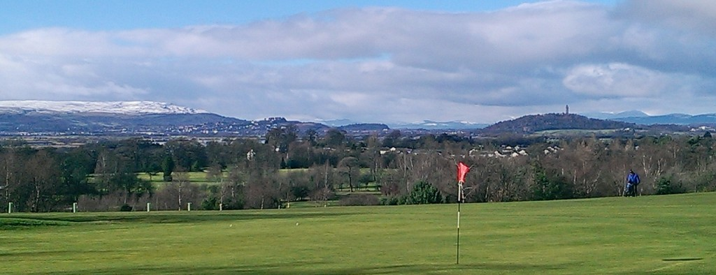 Winter 2014 Stirling Castle and Wallace Monument in middle distance from Braehead Golf Course